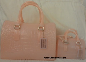 My croc-embossed Furla Candy bag with my daughter's mini Candy.  Both are in the color magnolia-rose :)
